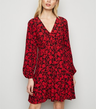 New Look Floral Empire Waist Long Sleeve Dress