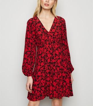 New Look Floral Empire Waist Long Sleeve Dress