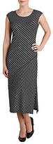 Allison Daley Petites Cap Sleeve Stripe Layered Midi Dress