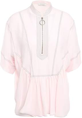 Cédric Charlier Gathered Crepe De Chine Top