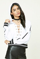 Forever 21 FOREVER 21+ Velour Lace-Up Hoodie