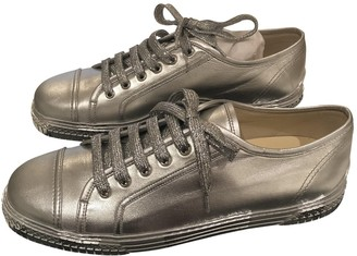 Chanel Silver Leather Trainers