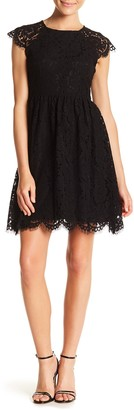 Kensie Sheer Scalloped Lace Dress