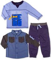 Nannette 3-Pc. Plaid Shirt, Shirt and Pants Set, Toddler Boys (2T-5T)