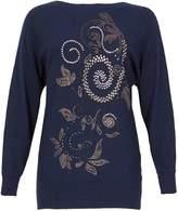 Izabel London *Izabel London Navy Beaded Knitted Jumper