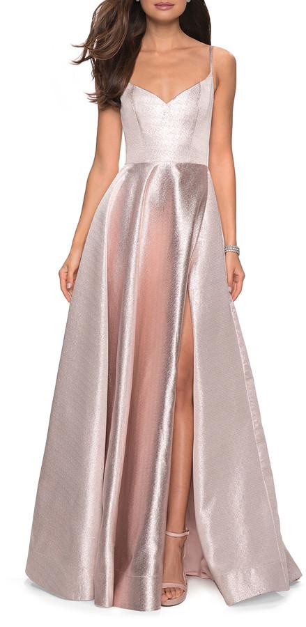 La Femme Metallic Sweetheart Sleeveless Ball Gown with High Slit