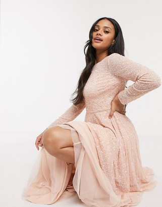 Lace & Beads embellished long-sleeved gown in pink