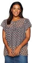NYDJ Women's Plus Size Mixed Border Print Blouse