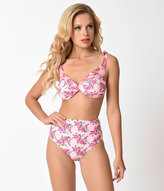 Betsey Johnson Light Pink Floral Lovers To Lovers Swim Bandeau Top