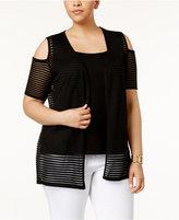 Belldini Plus Size Layered-Look Cardigan