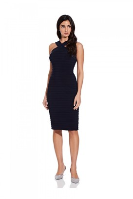 Adrianna Papell Satin And Jersey Pintuck Dress In Blue Moon