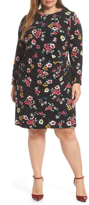Eliza J Long Sleeve Floral Print Dress