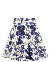 Quiz Cream Floral Print Panel Skater Skirt