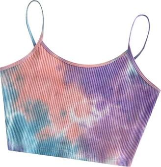 Whycat Tie Dye Crop Cami Tops Women Teen Girls Spaghetti Strap Sexy Shirt Summer Sleeveless Crop Tops T Shirts Ribbed Knit(Purple 10)