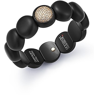 Roberto Demeglio 18K Rose Gold & Black Ceramic Dama Stretch Bracelet with Pave Champagne Diamond Station