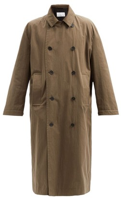 Raey Double-breasted Cotton-blend Coat - Brown