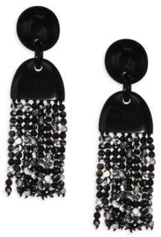 Nest Horn & Agate Long Tassel Earrings