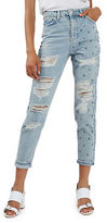 Topshop MOTO Studded Super Rip Mom Jeans 30-Inch Leg