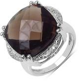 Olivia Leone Sterling Silver Cushion Smoky Topaz & Diamond Trim Ring