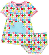 Toobydoo Happy Dots Kangaroo Pocket Dress (Baby & Toddler Girls)