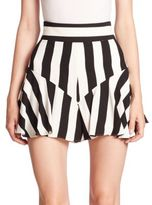 Milly Striped Ruffle Shorts