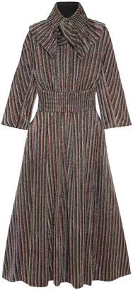 Emilia Wickstead Striped Metallic Ribbed-knit Midi Dress