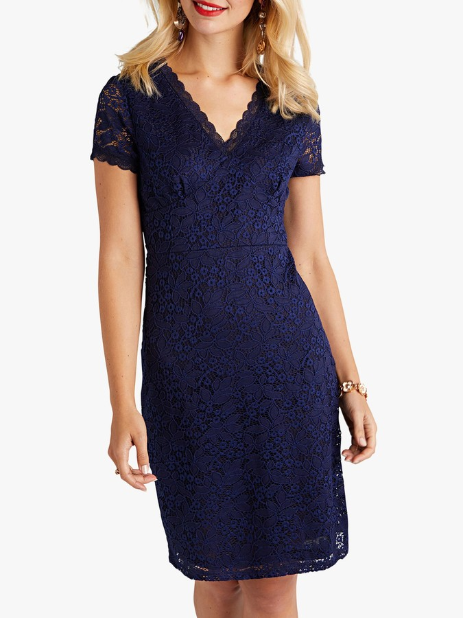 Yumi Fitted Lace Dress, Navy