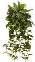 Nearly Natural Set Of 2 36In Mixed Greens Hanging Artificial Plant