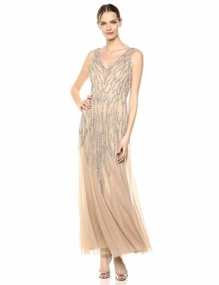 Marina Women's V Neck Beaded Evening Gown