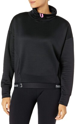 Juicy Couture Women's Long Sleeve Cropped Pullover Top Deep Black