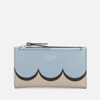 Kate Spade Women's Intarsia Scallop Small Slim Bifold Wallet - Horizon Blue