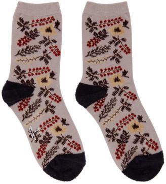 Y's Ys Purple Mole Flower Socks
