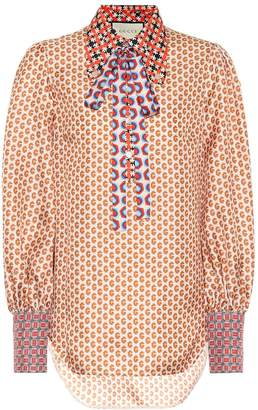 Gucci Patchwork printed silk blouse