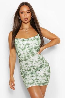 boohoo Tie Dye Cowl Neck Mini Dress