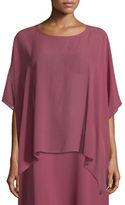 Eileen Fisher Short-Sleeve Sheer Silk Box Top