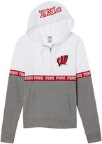 PINK University Of Wisconsin Bling Perfect Half Zip Hoodie