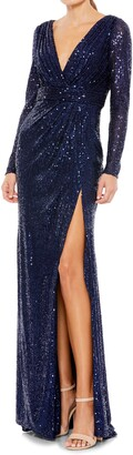 Mac Duggal Sequined Long Sleeve Gown