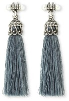 Gen Tribe Women's Gentribe Dangle Earring With Fabric Tassel And Faux Pearls - Silver Ox/Black