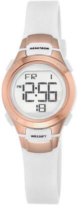 Armitron Women Digital Chronograph White Resin Strap Watch 27mm 45-7012RSG