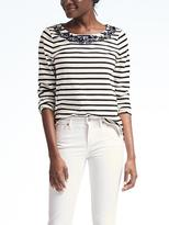 Banana Republic Stripe Embellished Top