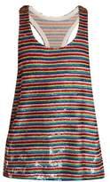 Ashish Rainbow-striped sequin-embellished silk top