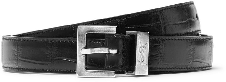 Saint Laurent 2cm Black Croc-Effect Leather Belt