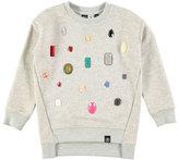 Molo Margith Melange Rhinestone Pullover Sweatshirt, Gray, Size 4-14