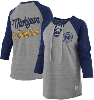 Women's Pressbox Heathered Gray/Navy Michigan Wolverines Plus Size Two-Hit Lace-Up Raglan Long Sleeve T-Shirt