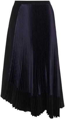 Marni Asymmetric Pleated Satin-paneled Crepe Skirt