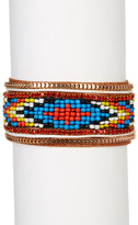 Natasha Accessories Beaded Faux Leather Bracelet