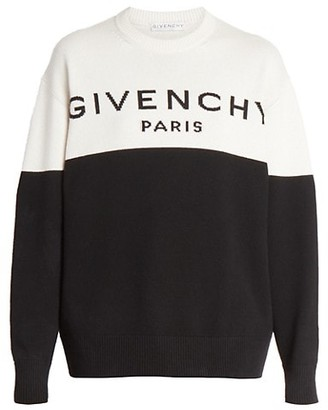 Givenchy Bi-Color Logo Knit Cashmere Sweater