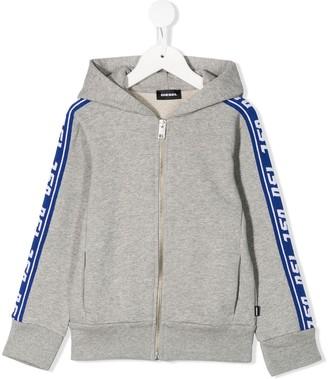 Diesel Suitax logo band zipped hoodie