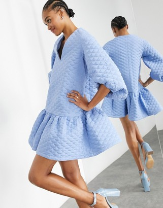 ASOS EDITION quilted mini with tiered hem in cornflower blue