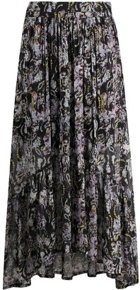 IRO Embroidered Flared Midi Skirt